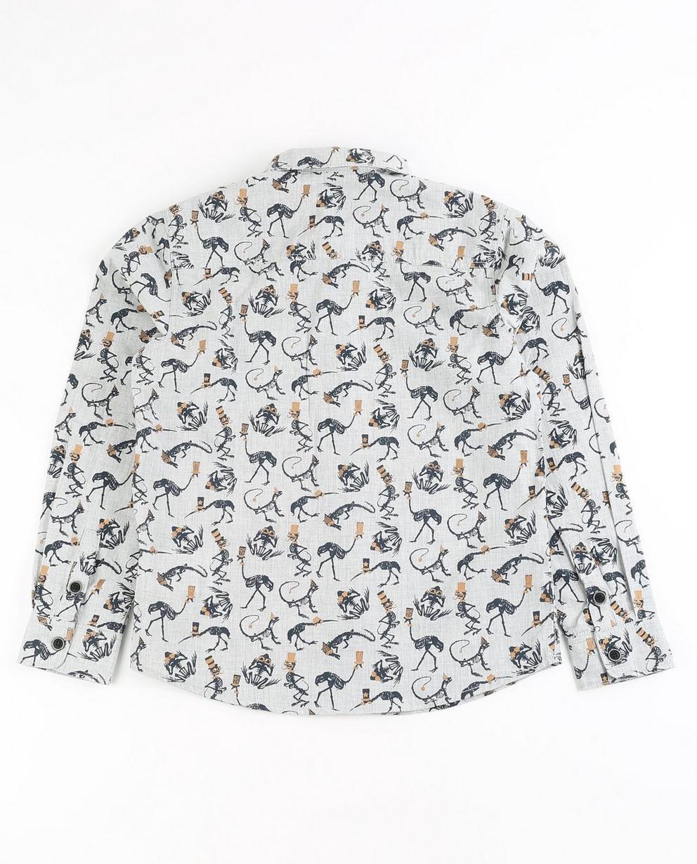 Hemden - Grau - Lichtgrijs hemd met allover print